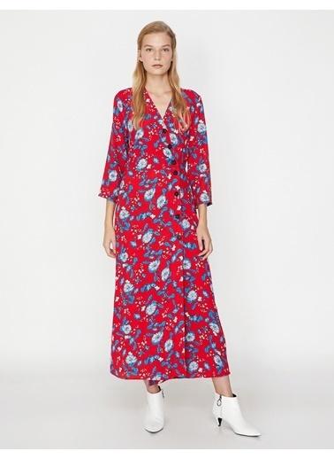 Koton Çiçek Desenli Elbise Kırmızı